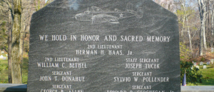American Black granite memorial with laser etching of Bomber